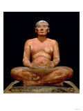 Crouching Scribe Statue, from Saqqara, Old Kingdom (Limestone, Alabaster & Rock Crystal) Giclee Print