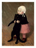 A Small Girl with a Cat, 1889 Giclee Print by Th&#233;ophile Alexandre Steinlen