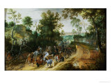 A Cavalry Column Ambushed on a Woodland Path Giclee Print by Sebastian Vrancx
