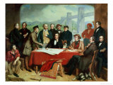 Conference of Engineers at Britannia Bridge, circa 1850 Giclee Print by John Seymour Lucas