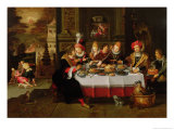 Lazarus and the Rich Man's Table (From Luke XVI) Giclée-Druck von Kaspar van den Hoecke