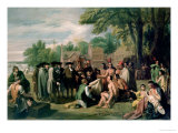 William Penn's Treaty with the Indians in November 1683, Painted 1771-72 Premium Giclee Print by Benjamin West