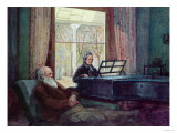 Charles Darwin and his wife at the Piano, Giclee Print