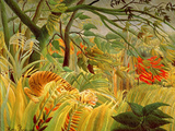 Tiger in a Tropical Storm (Surprised!) 1891 (Oil on Canvas) Reproduction proc&#233;d&#233; gicl&#233;e par Henri J.F. Rousseau