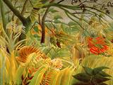 Überrascht! – Sturm im Dschungel (1891) Giclée-Premiumdruck von Henri Rousseau