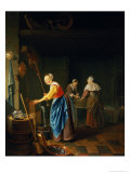A Kitchen Scene with a Maid Drawing Water from a Well Giclee Print by Pieter van Slingelandt