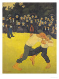 The Wrestling Bretons, circa 1893 Gicléetryck av Paul Serusier