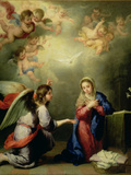 The Annunciation (panel) Giclée-Druck von Bartolome Esteban Murillo