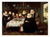 A Portrait of a Family Saying Grace Before a Meal, with a Servant Stoking a Fire Giclee Print by Gortzius Geldorp