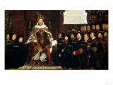 Henry VIII Handing over a Charter to Thomas Vicary, 1541 Giclee Print