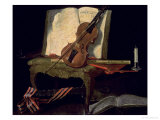 Still Life with a Violin Giclee Print by Jean-Baptiste Oudry