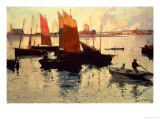 Evening Light at the Port of Camaret Giclée-Druck von Charles Cottet