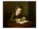 Boy Drawing at a Table Giclee Print by Philippe Mercier