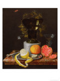 A Still Life with a Glass and Fruit on a Ledge Giclee Print by Wilhelm Ernst Wunder