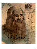 "Portrait of Leonardo Da Vinci (With His ""Vitruvian Man"") Giclee Print"