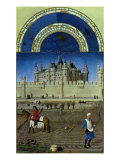 October: Sowing the Winter Grain by the Limbourg Brothers Giclee Print