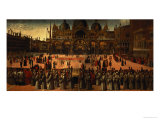 Procession in St. Mark's Square, 1496 Giclée-tryk af Gentile Bellini