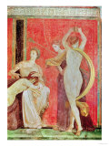 Scourged Woman and Dancer with Cymbals, South Wall, Oecus 5, 60-50 BC Giclée-Druck