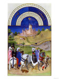 August: Hawking, by the Limbourg Brothers (Facsimile Manuscript) Giclee Print