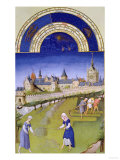 June: Haymaking, by the Limbourg Brothers (Facsimile Manuscript) Giclee Print