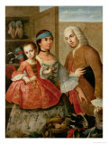 A Spaniard, His Mexican Indian Wife and Child, from a Series on Mixed Race Marriages in Mexico Giclee Print by Miguel Cabrera
