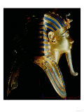 "Gold Mask of Tutankhamun, Covered by ""Nemes Headcloth"" with Cobra and Vulture Emblems on Forehead Giclee Print"