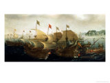 A Sea Action, possibly the Battle of Cadiz, 1596  Lámina giclée por Hendrick Cornelisz. Vroom