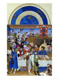 January: Banquet Scene by the Limbourg Brothers (Facsimile Manuscript) Premium Giclee Print