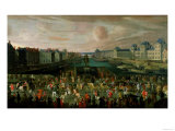 View of the Pont Neuf and the Chateau Du Louvre with the Royal Carriage Passing, 1665-69 Giclee Print