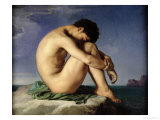 Naked Young Man Sitting by the Sea, 1836 Giclée-tryk af Hippolyte Flandrin