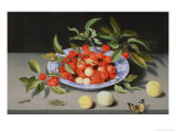 Still Life of Cherries and Peaches Reproduction procédé giclée par Balthasar van der Ast