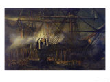 """The Shipment of Napoleon's Ashes Aboard the """"Belle-Poule"""" at Saint Helena, 15th October 1840, 1842 Giclee Print by Louis Eugene Gabriel Isabey"""