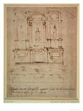 Study for the Tomb of Pope Julius II (Brown Ink) Giclee Print by Michelangelo Buonarroti