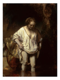 Woman Bathing in a Stream, 1654 (Oil on Panel) Giclee Print by  Rembrandt van Rijn