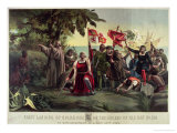 The First Landing of Columbus on the Shores of the New World at San Salvador Giclee Print by Discoro Téofilo de la Puebla