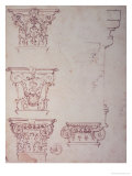 Studies for a Capital (Brown Ink) Giclee Print by Michelangelo Buonarroti
