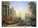 Seaport with the Embarkation of St. Ursula Giclée-tryk af Claude Lorrain