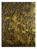 Detail from a Thai Cabinet, Ebonised Wood Inlaid with Brass Giclee Print