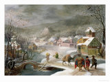 A Winter Landscape with Travellers on a Path Impression giclée par Denys van Alsloot