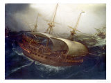 Dutch Battleship in a Storm Giclee Print by Hendrick Cornelisz. Vroom