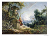 Pastoral Scene, or Young Shepherd in a Landscape Giclee Print by Francois Boucher