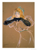 "Yvette Guilbert (1867-1944) Singing ""Linger, Longer, Loo,"" 1894 Reproduction procédé giclée par Henri de Toulouse-Lautrec"