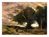 Gust of Wind, 1866 Giclee Print by Jean-Baptiste-Camille Corot