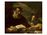 Homer Dictating his Poem Lámina giclée por Pier Francesco Mola
