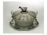 Butter Dish with a Frosted Glass Base (Silver and Frosted Glass) Giclee Print by Charles & George Fox