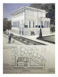 Villa Wagner, Vienna, Design Showing the Exterior of the House, Built of Steel and Concrete 1913 Premium Giclee Print by Otto Wagner