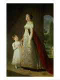 Maria Carolina Bonaparte (1782-1839) Queen of Naples with Her Daughter Laetitia Murat, 1807 Giclee Print by Elisabeth Louise Vigee-LeBrun