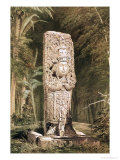 Carved Stone Idol from Copan Giclee Print by Frederick Catherwood