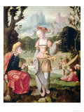 Ruth and Naomi in the Field of Boaz, circa 1530-40 Giclee Print by Jan van Scorel