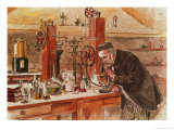Louis Pasteur Experimenting for the Cure of Hydrophobia in His Laboratory, c. 1885, Pub. c. 1895 Giclee Print by Adrien Emmanuel Marie